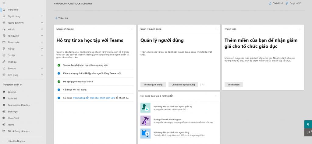 Tính năng bên cột điều hướng cho Microsoft 365 Business