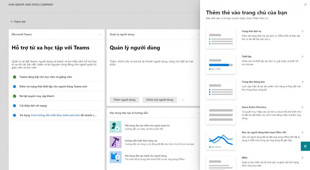Thêm các widget để dễ dàng cập nhật thông tin tổ chức